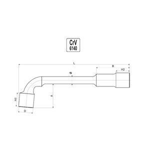 """Kľúč nástrčný 22 mm typ """"L"""""""