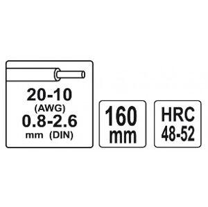 Odizolovacie 160mm kliešte priemer 0,8-2,6 mm
