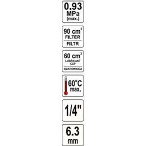 "Regulátor tlaku vzduchu 1/2"", max. 0,93MPa, s filtrom (90cm3)"